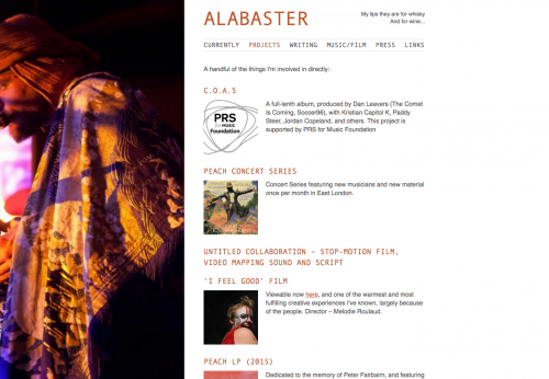 Website portfolio for musician Alabaster DePlume